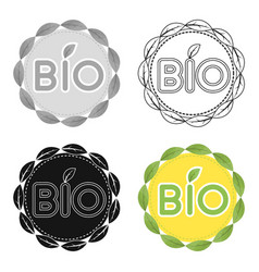Bio label icon in outline style isolated on white vector