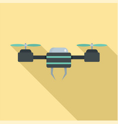 black blue drone icon flat style vector image