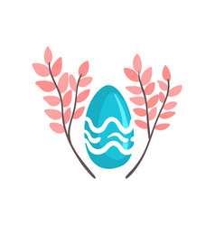 blue easter egg and spring twigs vector image