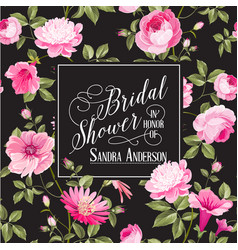 Bridal shower invitation with flowers vector