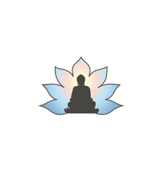 buddha in meditation silhouette with lotus flower vector image