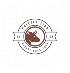 Butcher shop design element in vintage style vector