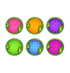 cartoon colorful round buttons set vector image