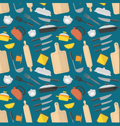 Cartoon cookware background pattern vector