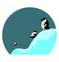 Cartoon picture three penguins sliding and vector