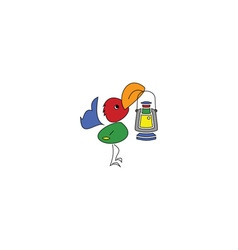 Cartoon style colorful bird with a lamp vector image