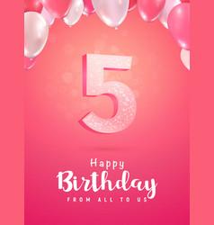 Celebrating 5 years birthday 3d vector