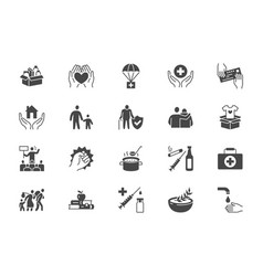 charity social worker glyph icons vector image
