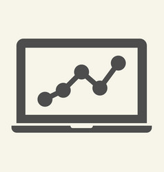 chart on laptop solid icon graph on notebook vector image