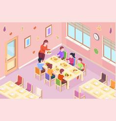 Children at kindergarten having meal vector