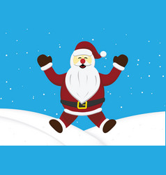 christmas santa claus jumping snow hill background vector image