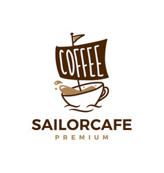 coffee sailor cafe logo icon vector image