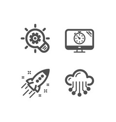 Cogwheel seo timer and startup rocket icons vector