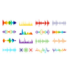 Color sound waves audio digital melody wave vector
