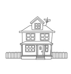continuous line drawing of a family house cartoon vector image