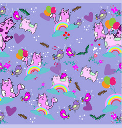 cute cat seamless pattern with flower rainbow on vector image