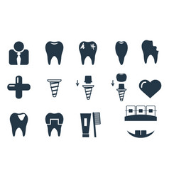 Dental icons set simple collection black and vector