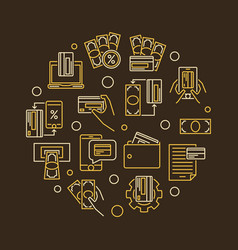 e-payment line symbol epayments circular vector image