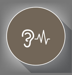 ear hearing sound sign white icon on vector image