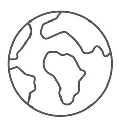 earth thin line icon map and planet globe sign vector image