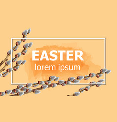 easter card with willow branches watercolor vector image