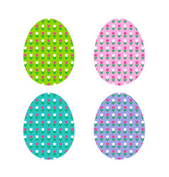 easter egg shapes with tulip pattern vector image