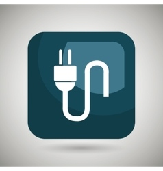 Electric plug square button isolated icon design vector