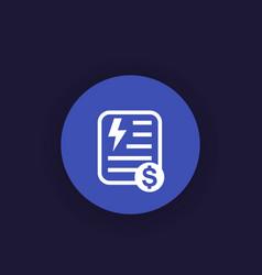 Electricity utility bill icon vector