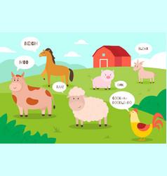 Farm animals background cartoon funny domestic vector