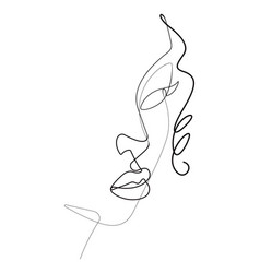 Female face portrait one continuous line gr vector
