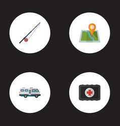 Flat icons location fishing fist aid and other vector