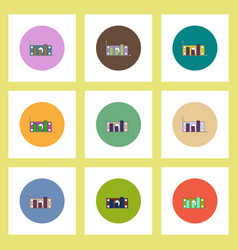 Flat icons set of column chart and money vector