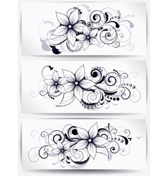 floral design element with swirls for spring vector image