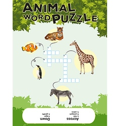 Game template for animal word puzzle with keys vector