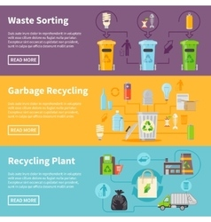 Garbage Recycling Banners Set vector image
