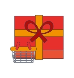 giftbox and shopping basket icon vector image