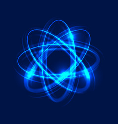 glowing atom on blue background abstract light vector image