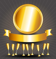Gold circle sign cups and ribbon banner vector image