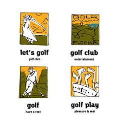golf club logo icons set vector image
