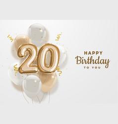 Happy 20th birthday gold foil balloon greeting bac vector