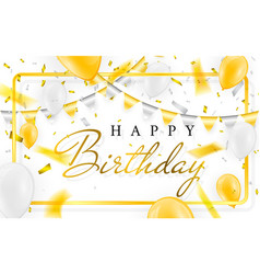 Happy birthday celebration party banner golden vector