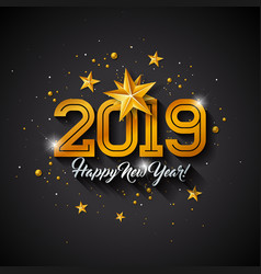 happy new year 2019 with typography vector image