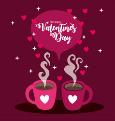 Happy valentines day card with coffee cups vector