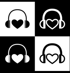 headphones with heart black and white vector image