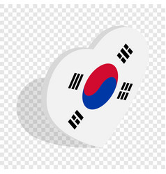 heart with korean flag isometric icon vector image