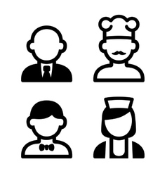 Hotel and Restaurant Staff Icons Set vector image vector image