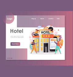 hotel website landing page design template vector image