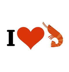 I love shrimp Heart and marine plankton Logo for vector image