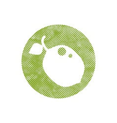 Icon lime with pixel print halftone dots texture vector