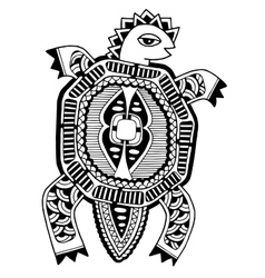 Ink drawing of tortoise ethnic pattern black vector